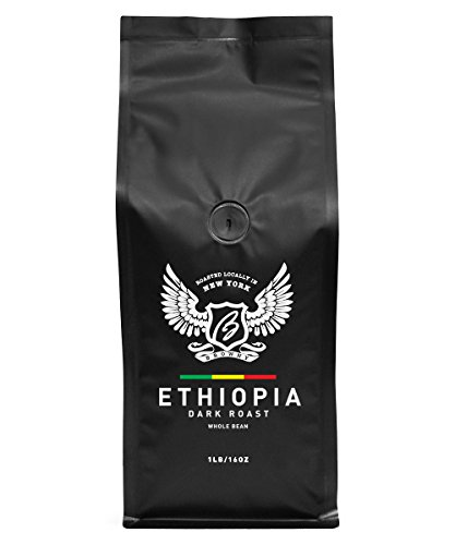 Browny Ethiopia Yirgacheffe Roasted Coffee Whole Beans - Premium Artisan Roast in 16oz (Dark Roast, 1 Pound)