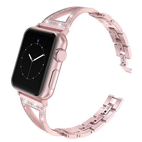 Glebo Jewelry Band Compatible with Apple Watch Band 38mm 40mm Rose Gold, Stainless Steel Metal Bracelet Bangle Wristbands Accessories Replacement Band for iwatch Bands 38mm 40mm Womens Series 3 4 ()