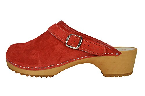 Buxa Zuecos de Ante Unisexo con Suela de Madera y Correa Ajustable Rojo