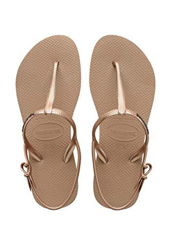 Havaianas Women's Freedom SL Flip Flop Sandals, Around Ankle Straps, Roman Sandal,Rose Gold,37 BR/7/8 W US