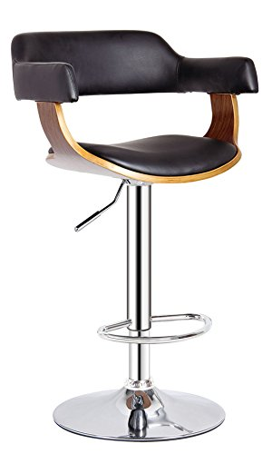 (AC Pacific Contemporary Hydraulic Lift Adjustable Swivel Barstool with Padded Armrests, Seat and Back, 24