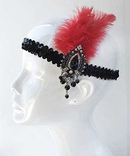 AMY O Gatbsy Gold Band and Black Feather Headpiece Flapper Headpiece Women's Headband