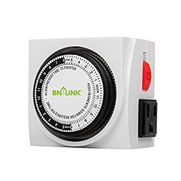 BN-LINK Heavy Duty Mechanical 24 Hour Timer Dual Outlet 3-Prong Accurate Indoor for Lamps Fans Christmas Lights White AC 1875W 1 2 HP, UL Listed