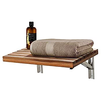 Image of ANZZI Goreme 17 in x 12.6 in Wall Mounted Folding Teak Shower Seat | 280 lbs Weight Capacity Wood and Stainless Steel Spa Bench Fold Down Seat for Bath | Modern Wooden Foldable Shower Chair | AC-AZ204 Health and Household