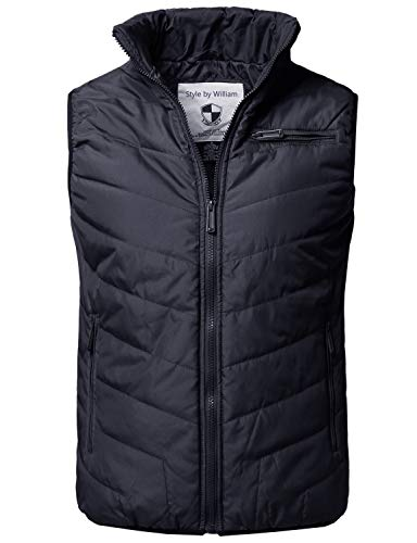 Style by William Solid Front Zip Up Outdoor Comfortable Padded Vest Outwear Jacket Navy XL