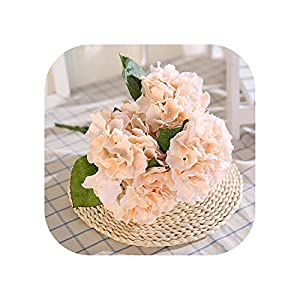 Sweet*love 5 Head Artificial Flower Silk Fake Hydrangea Flowers Bunch Bouquet Simulation Flower Home Wedding Party Decorations,Champagne 102