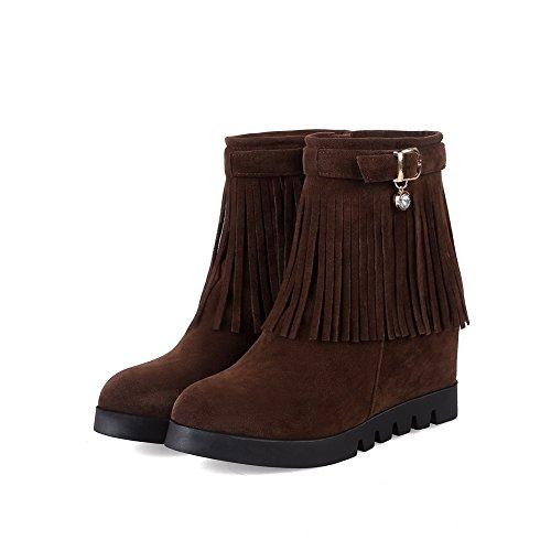 Tassels Urethane Buckle Brown Boots Wedges ABL10271 Womens Retro BalaMasa qFAnZaa