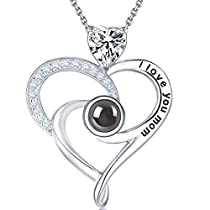 Elda&Co 100 Languages I Love You Mom Necklace April Birthstone Fine Jewelry for Mom Birthday Sterling Silver Simulated Diamond Love Heart Necklace