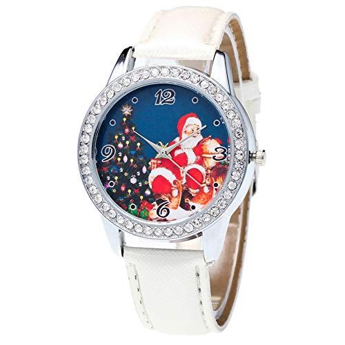 Christmas Pattern Rhinestone Dial Faux Leather Strap Couples Analog Quartz Wristwatch by Gaweb (Image #5)