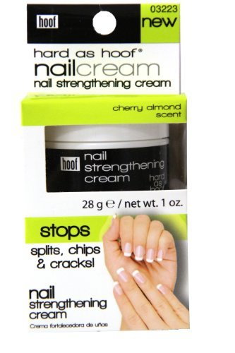 Hard As Hoof Nail Strengthening Cream with Cherry Almond Scent Nail Strengthener & Nail Growth Cream Prevents Splits, Chips, Cracks & Strengthens Nails, 1 oz by Hoof -