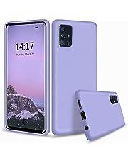 CRABOT vloeibare siliconen telefoonhoesje gel rubberen schokbestendige cover zachte microvezel doek voering kussen anti-val krasbestendige telefoon shell, Paars, Samsung Galaxy A51
