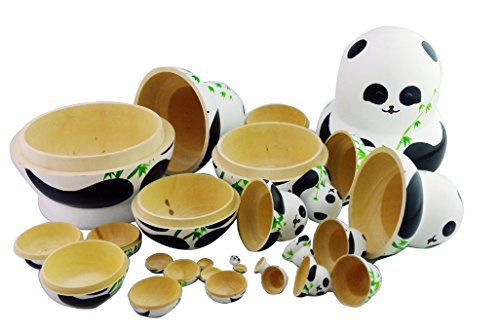 Winterworm Set of 15 Panda with Bamboo Nesting Dolls Matryoshka Russian Doll Popular Handmade Kids Girl Gifts Christmas Toy by Winterworm (Image #4)