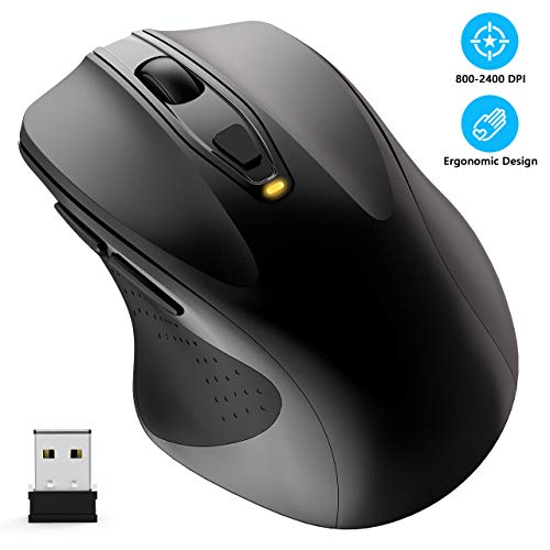Wireless Mouse, WISFOX 2.4G Full Size Computer Mouse Wireless Ergonomic Mouse 6 Buttons Laptop Mouse USB Mouse with Nano Receiver 5-Level DPI Adjustable Cordless Wireless Mice for Windows(Black)