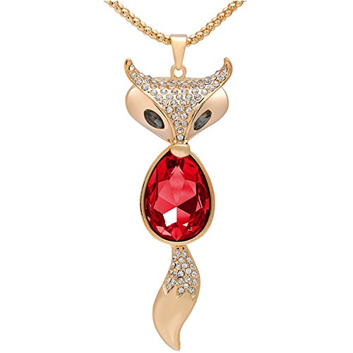 Lovely Fox Rose Gold Plated Fox Shape Austrian Crystal Pendant Necklace for Womens in Fashion Jewelry Austrian Crystal Dog Bone Collar