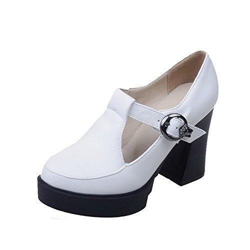 High Schnalle geschlossene VogueZone009 Solide Zehe Weiß Frauen Schuhe Pumps Runde Heels wII6Bx