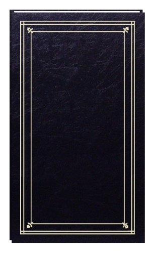 Pioneer Photo Albums 204-Pocket Post Bound Slim Line Leatherette Cover Photo Album for 4 by 6-Inch Prints, Black ()