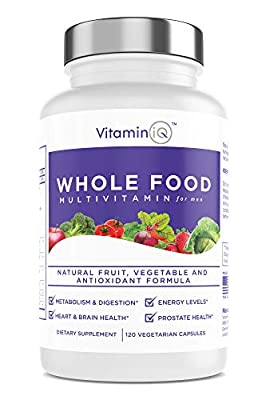 VitaminIQ - Whole Food Multivitamin for Men, 120 Vegetarian Capsules, Men's Multi Vitamin and Mineral Supplement, Antioxidant Rich, Calcium, Magnesium, Selenium, Vitamins A, B6, C, D3, E