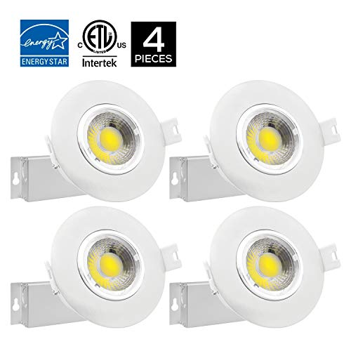 Led Light Fixture Power Factor: 4Pack 8W 3 Inch Gimbal Dimmable LED Downlight, IC Rated