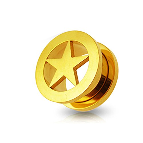 Gold Anodized Star Fit Flesh Tunnel Body jewelry by Tunnel-Plug-Taper