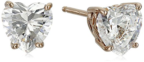 Rose-Gold-Plated Sterling Silver Heart-Shape Stud Earrings made with Swarovski Zirconia
