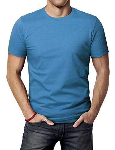 - H2H Men's Stylish Round Neck Cotton Blend Basic T-Shirt for Men ULTRAMARINEBLUE US 3XL/Asia 4XL (SET3CMTTS0198)