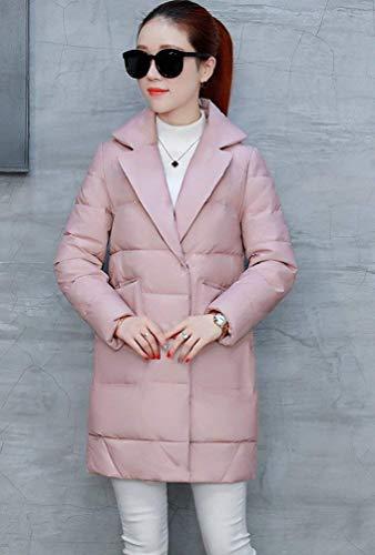 Casual Blouson Parka Rose Mode Revers Manteau Elégante Battercake Hiver Couleur Longues Chic Femme Doudoune Unie Large Quilting Manches Fashion Warm Épaissir Xzq5n1