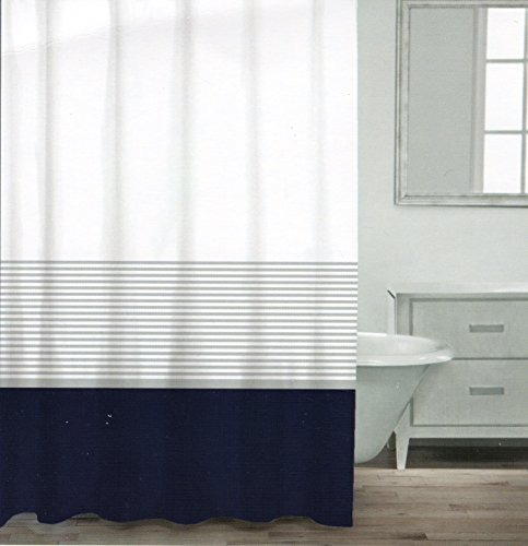 CARO Home Fabric Shower Curtain Wide Navy Blue White and Silver Stripe (Blue And White Stripe Fabric compare prices)