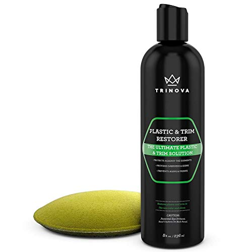 TriNova Plastic & Trim Restorer - Shines & Darkens Worn Out Plastic, Vinyl & Rubber Surfaces - Protects Cars & Motorcycles from Rain, Salt & Dirt - Prevent Fading - 8 OZ]()
