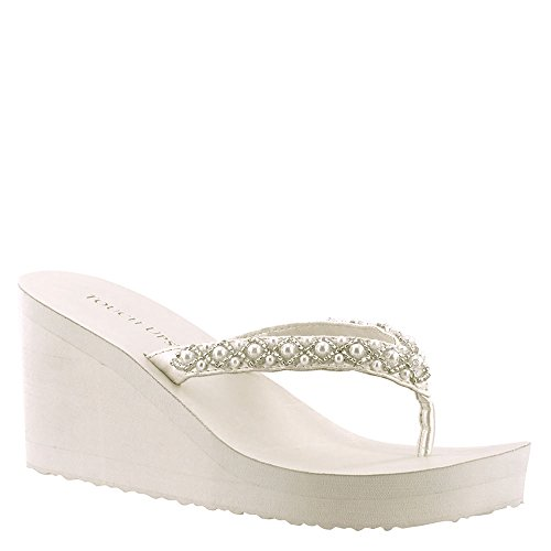 Touch Ups Women's Shelly Thong Wedge Sandal,Diamond White Synthetic,US 5 M