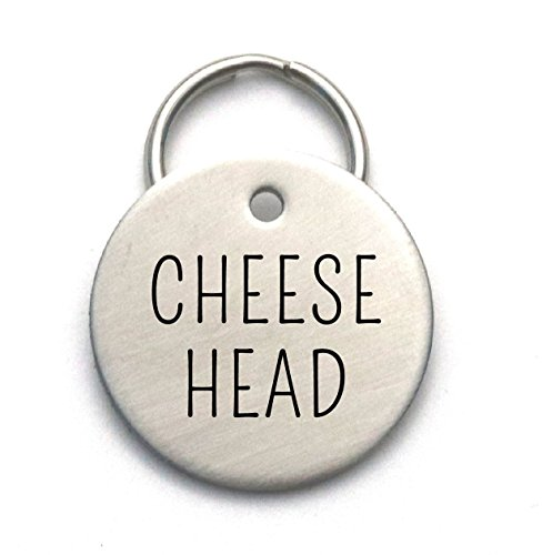 Cheese Head - Funny Custom Dog Tag Made of Strong Metal, Personalized With Pet's Name and Phone
