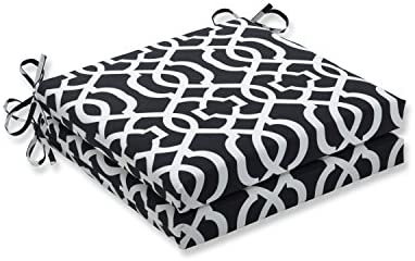 Pillow Perfect Outdoor/Indoor New Geo Black/White Squared Corners Seat Cushion 20x20x3 Set of 2