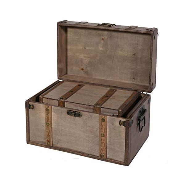 SLPR Natural Treasures Wooden Trunk Chest (Set of 2, Natural) | Decorative Old Rustic Wood Storage Trunk Box