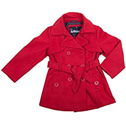 [397202-CrimsonRed-3T] Girls Poly Wool Jacket Double Breasted Trench Coat