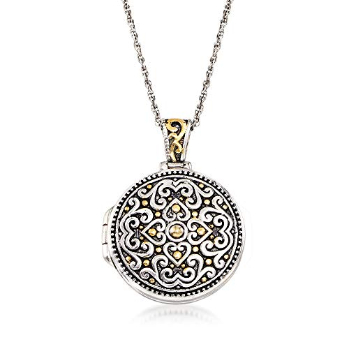 Two Tone Locket - Ross-Simons Two-Tone Sterling Silver Bali-Style Locket Necklace