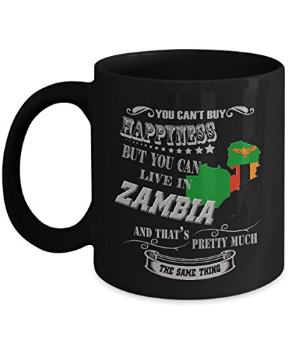 Zambia Mug Zambian Mug Coffee Flag Beer Travel Cute Gifts For Your Dad Mom Friend as Seen on T Shirt 11 Ounce Black Ceramic Cup Mugs