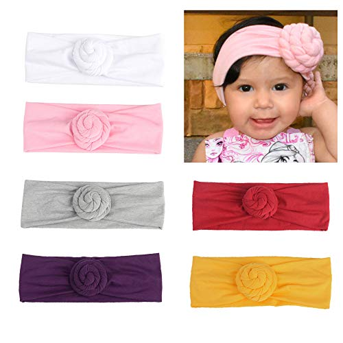 CozyWay Baby Girls Headbands Turban Knotted Newborn Infants Cute Bow Hair Bands for Children Pack of 3&6 (6 Pack-style 3) by CozyWay