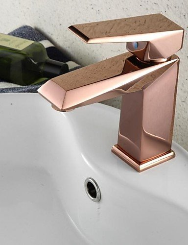 (Ling@ Basin mixer Centerset Single Handle One Hole in Rose Gold Bathroom Sink Faucet)
