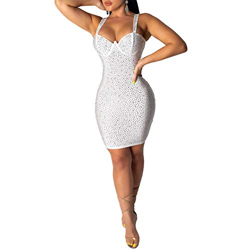 (Haloladies Women's Sexy Rhinestone Sleeveless Glitter Bodycon Stretchy Cocktail Party Mini Dress White M)