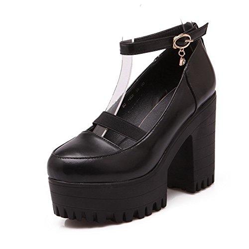 Allhqfashion Mujer Microfibra Hebilla Tacón Alto Puntera Redonda ZapatosdeTacón Negro