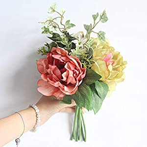 keebgyy Artificial Peony Flower Bouquet, Real Looking Hydrangea Dahlia DIY Bridal Bouquet with 3 Flowers and Leaves, for Wedding Party Home Decoration(Coral Green) 114