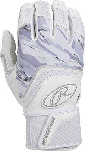 Rawlings WHCSBG-W-89 Workhorse Batting Glove with Compression Strap, White ()