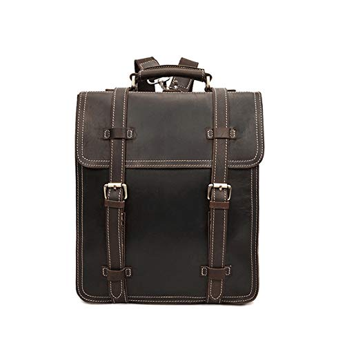 Tsutou para Dark Mochila portátil Brown Business Daypack Brown Day de Genuino Schoolbags Hombres Color Mochila de Bookbags Cuero F7nEawFrq