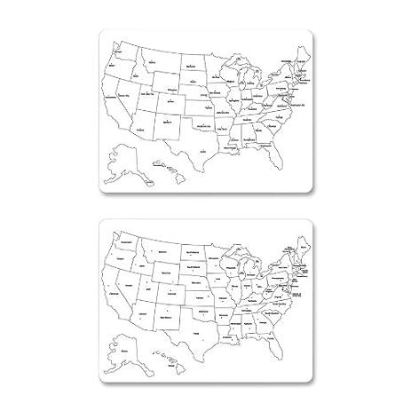 Amazoncom Sided US Map Wall Mounted Whiteboard H X W - Us map whiteboard