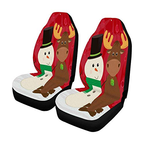 INTERESTPRINT Cute Snowman and Moose Winter Car Seat Cover Front Seats Only Full Set of 2, Vehicle Seat Protector Car Mat Covers, Fit Most Vehicle, Cars, Sedan, Truck, SUV, Van