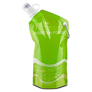 Eco-Highway Hydration Pouch: Collapsible, Reusable 20oz Water Bottle (Green)