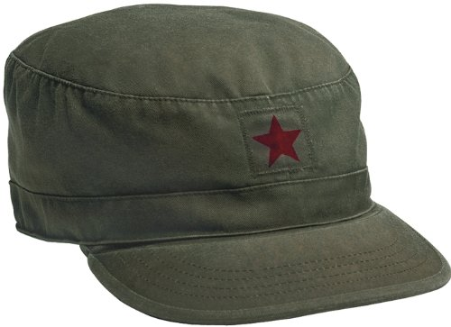 Red Fatigue Cap (4518 Vintage Olive Drab w/ Red Star Fatigue Cap (X-Large))