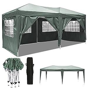 Carpa Impermeable Plegable 3×6 Cenador Jardin Exterior 3 Regulables en Altura para Camping Playa Fiesta