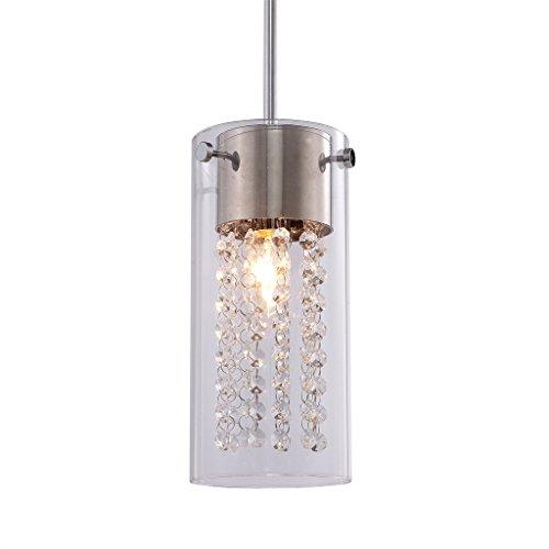 Liveditor Lighting Crystal Pendant Glass Cylinder Light, Y4057-W