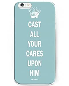 UKASE Back Cover Snap on Case for 4.7 inch iPhone 6 with Inspiration Bible Sayings Cast All Your Cares Upon Him