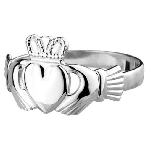 Solvar Standard Irish Claddagh Ring Mens Sterling Silver-13